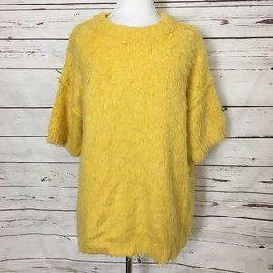 H&M Bright Lemon Yellow Fluffy Sweater Medium